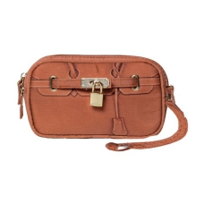 A PET WITH PAWS Scarlet Poop Bag Wristlet Brown