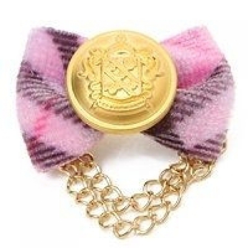 Golden crested hair pin, pink