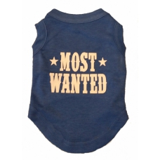 Honden T-shirt Most Wanted, Denim Blauw