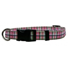Yellow Dog Design halsband Pink Tartan