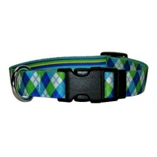 Yellow Dog green argyl mix Halsband en Lijn